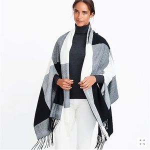 J. Crew Plaid cape-scarf in Camel Ivory